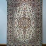 Esfahani Persian Rug Gallery  ORIGIN: IRAN/ STYLE: ISFAHAN / DESIGN: MEDALION  PILE: FINE WOOL & SILK / FOUNDATION: SILK  LENGTH FT: 5.31/ WIDTH FT: 3.54/ SQF: 18.83  LENGTH M: 1.62 / WIDTH M: 1.08/ SQM: 1.75  APPROX AGE: OVER 15 YEARS NEW / APPROX KPSI: 450  INVENT # 1108