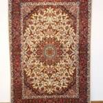 Esfahani Persian Rug Gallery  ORIGIN: IRAN/ STYLE: ISFAHAN / DESIGN: MEDALION  PILE: FINE WOOL & SILK / FOUNDATION: SILK  LENGTH FT: 5.05/ WIDTH FT: 3.51/ SQF: 17.74  LENGTH M: 1.54 / WIDTH M: 1.07/ SQM: 1.65  APPROX AGE: OVER 15 YEARS NEW / APPROX KPSI: 450  INVENT # 1110