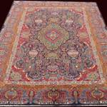 Esfahani Persian Rug Gallery  ORIGIN: IRAN/ STYLE: KASHMAR / DESIGN: ANTIQUE  PILE: WOOL / FOUNDATION: COTTON  LENGTH FT: 12.96/ WIDTH FT: 9.68/ SQF: 125.43  LENGTH M: 3.95 / WIDTH M: 2.95/ SQM: 11.65  APPROX AGE: OVER 50 YEARS / APPROX KPSI: 150  INVENT # 1096