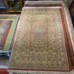 Esfahani Persian Rug Gallery  Origin: IRAN/ STYLE: QUM/ DESIGN: GEOMETRIC  Pile: SILK / FOUNDATION: SILK  Length FT: 6.59/ WIDTH FT: 4.36/ SQF: 28.78  Length M: 2.01 / WIDTH M: 1.33/ SQM: 2.67  Approx age: NEW/ APPROX KPSI: 600  Invent # 1153