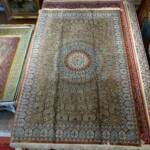 Esfahani Persian Rug Gallery  Origin: IRAN/ STYLE: QUM/ DESIGN: GEOMETRIC  Pile: SILK / FOUNDATION: SILK  Length FT: 6.69/ WIDTH FT: 4.46/ SQF: 29.86  Length M: 2.04 / WIDTH M: 1.36 SQM: 2.77  Approx age: NEW/ APPROX KPSI: 600  Invent # 1154