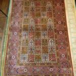 Esfahani Persian Rug Gallery  Origin: IRAN/ STYLE: QUM/ DESIGN: 4 SEASON  Pile: SILK / FOUNDATION: SILK  Length FT: 4.00/ WIDTH FT: 2.4/ SQF: 9.98  Length M: 1.22 / WIDTH M: 0.76 SQM: 0.93  Approx age: NEW/ APPROX KPSI: 600  Invent # 1160
