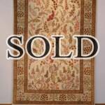 Esfahani Persian Rug Gallery  ORIGIN: IRAN/ STYLE: QUM/ DESIGN: TREE  PILE: SILK / FOUNDATION: SILK  LENGTH FT: 4.82/ WIDTH FT: 3.22/ SQF: 15.51  LENGTH M: 1.47 / WIDTH M: 0.98/ SQM: 1.44  APPROX AGE: OVER 20 YEARS NEW/ APPROX KPSI: 600  INVENT # 1023