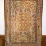 Esfahani Persian Rug Gallery  ORIGIN: IRAN/ STYLE: QUM / DESIGN: GEOMETRIC  PILE: SILK / FOUNDATION: SILK  LENGTH FT: 6.40/ WIDTH FT: 4.40/ SQF: 28.13  LENGTH M: 1.95 / WIDTH M: 1.34/ SQM: 2.61  APPROX AGE: OVER 30 YEARS NEW/ APPROX KPSI: 600  INVENT # 1030