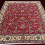 Esfahani Persian Rug Gallery  ORIGIN: IRAN/ STYLE: TABRIZ / DESIGN: ALLOVER  PILE: WOOL / FOUNDATION: COTTON  LENGTH FT: 12.96/ WIDTH FT: 9.45/ SQF: 122.45  LENGTH M: 3.95 / WIDTH M: 2.88/ SQM: 11.38  APPROX AGE: OVER 50 YEARS / APPROX KPSI: 150  INVENT # 1091