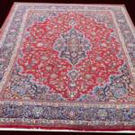 Esfahani Persian Rug Gallery  ORIGIN: IRAN/ STYLE: KASHMAR / DESIGN: MEDALION  PILE: WOOL / FOUNDATION: COTTON  LENGTH FT: 12.53/ WIDTH FT: 9.68/ SQF: 121.30  LENGTH M: 3.82 / WIDTH M: 2.95/ SQM: 11.27  APPROX AGE: OVER 50 YEARS / APPROX KPSI: 150  INVENT # 1092