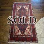Esfahani Persian Rug Gallery  ORIGIN: IRAN/ STYLE: BALUCHI/ DESIGN: TRIBAL  PILE: WOOL / FOUNDATION: WOOL  LENGTH FT: 5.77/ WIDTH FT: 2.89/ SQF: 16.67  LENGTH M: 1.76/ WIDTH M: 0.88 SQM: 1.55  APPROX AGE: OVER 25 YEARS / APPROX KPSI: 100  INVENT # 1377