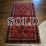 Esfahani Persian Rug Gallery  ORIGIN: IRAN/ STYLE: BALUCHI/ DESIGN: TRIBAL  PILE: WOOL / FOUNDATION: WOOL  LENGTH FT: 6.17/ WIDTH FT: 3.44/ SQF: 21.25  LENGTH M: 1.88 / WIDTH M: 1.05 SQM: 1.97  APPROX AGE: OVER 25 YEARS / APPROX KPSI: 100  INVENT # 1378