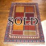 Esfahani Persian Rug Gallery  ORIGIN: IRAN/ STYLE: GHUCHAN/ DESIGN: TRIBAL  PILE: WOOL / FOUNDATION: WOOL  LENGTH FT: 5.71/ WIDTH FT: 4.00/ SQF: 22.85  LENGTH M: 1.74 / WIDTH M: 1.22 SQM: 2.12  APPROX AGE: OVER 25 YEARS / APPROX KPSI: 100  INVENT # 1380
