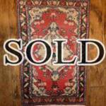 Esfahani Persian Rug Gallery  ORIGIN: IRAN/ STYLE: HAMEDAN/ DESIGN: TRIBAL  PILE: WOOL / FOUNDATION: COTTON  LENGTH FT: 2.79/ WIDTH FT: 1.77/ SQF: 4.94  LENGTH M: 0.85 / WIDTH M: 0.54 SQM: 0.46 APPROX AGE OVER 25 YEARS / APPROX KPSI: 100  INVENT # 1341