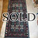 Esfahani Persian Rug Gallery  ORIGIN: IRAN/ STYLE: BALUCHI/ DESIGN: TRIBAL  PILE: WOOL / FOUNDATION: WOOL  LENGTH FT: 3.94/ WIDTH FT: 1.84/ SQF: 7.23  LENGTH M: 1.20 / WIDTH M: 0.56 SQM: 0.67  APPROX AGE: OVER 25 YEARS / APPROX KPSI: 100  INVENT # 1351