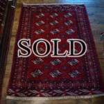 Esfahani Persian Rug Gallery  ORIGIN: IRAN/ STYLE: BALUCHI/ DESIGN: TRIBAL  PILE: WOOL / FOUNDATION: WOOL  LENGTH FT: 4.92/ WIDTH FT: 3.81/ SQF: 18.73  LENGTH M: 1.50 / WIDTH M: 1.16 SQM: 1.74  APPROX AGE: OVER 25 YEARS / APPROX KPSI: 100  INVENT # 1352