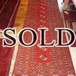 Esfahani Persian Rug Gallery  ORIGIN: IRAN/ STYLE: BALUCHI/ DESIGN: TRIBAL  PILE: WOOL / FOUNDATION: WOOL  LENGTH FT: 9.68/ WIDTH FT: 3.18/ SQF: 30.80  LENGTH M: 2.95 / WIDTH M: 0.97 SQM: 2.86  APPROX AGE: OVER 25 YEARS / APPROX KPSI: 100  INVENT # 1356